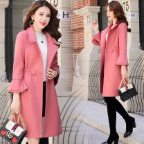 woolen coat Spring 2021 M. L, XL, 2XL, elegant, fashionable and luxurious wool overcoat Black, caramel, beige, Chinese red, brick red other 95% and above Medium length Long sleeves tailored collar Self cultivation XC-1085-YKE-J 25-29 years old