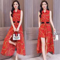 Fashion suit Summer 2020 M. L, XL, XXL, Q send exquisite belt, luxury two wear two piece set Navy (Jumpsuit + skirt), red (Jumpsuit + skirt) XC-1826-SYY-J