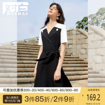 Dress Summer 2021 Black [spot second delivery] black [pre-sale] S M L XL Mid length dress singleton  Short sleeve commute V-neck High waist other Socket A-line skirt 25-29 years old Type A dialogue Simplicity Lace up stitching ADQ032 91% (inclusive) - 95% (inclusive) other polyester fiber