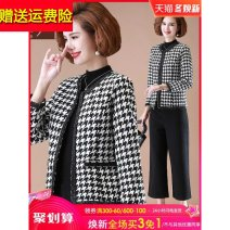 Middle aged and old women's wear Autumn 2020 fashion Jacket / jacket easy Two piece set lattice 40-49 years old Cardigan moderate Crew neck routine routine Other / other pocket polyester 96% and above