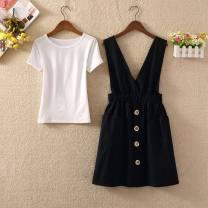 Dress Summer 2021 Blue skirt (single skirt), orange skirt (single skirt), yellow skirt (single skirt), black skirt (single skirt), white T + blue skirt (two-piece set), white T + orange skirt (two-piece set), white T + yellow skirt (two-piece set), white T + black skirt (two-piece set) S,M,L Sweet