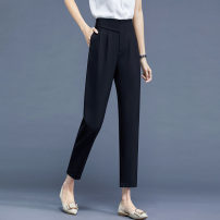 Women's large Spring 2021 Black pants, grey pants trousers commute polyester fiber Badimei 25-29 years old pocket Other 100% trousers
