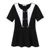 Women's large Summer 2021 Black top Large L (100-130 kg) Large XL (131-145 kg) large XXL (146-155 kg) large 3XL (156-170 kg) large 4XL (171-185 kg) large 5XL (186-200 kg) singleton  commute Socket Short sleeve Korean version SWE63020A54 Badimei 25-29 years old Other 100% Pure e-commerce (online only)