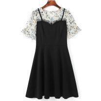 Women's large Summer 2021 Black dress Large L (100) - 130 kg) Large XL (131 kg) - 145 kg) large XXL (146 kg) - 155kg) large 3XL (156kg) - 170 kg) large 4XL (171 kg) - 185 kg) large 5XL (186 kg) - 200 kg) Dress singleton  commute Short sleeve Korean version Three dimensional cutting routine ASM5087A67