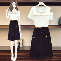 Women's large Summer 2021 Black top + Khaki Skirt white top + black skirt Large L (110-130 kg) Large XL (131-145 kg) large XXL (146-155 kg) large 3XL (156-165 kg) large 4XL (166-190 kg) Two piece set commute Short sleeve Korean version routine Three dimensional cutting routine XJM1L-R04-4370A89