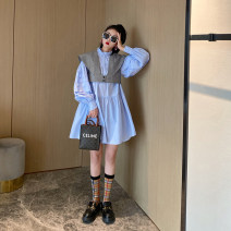 Dress Summer 2021 S,M,L Short skirt singleton  Long sleeves street Crew neck middle-waisted Solid color other Princess Dress Princess sleeve Others Type A Nancycavally fold More than 95% cotton Europe and America