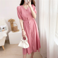 Dress Summer 2020 Pink S,M,L,XL singleton  Short sleeve Sweet V-neck High waist Solid color Single breasted other other Others Type X Frenulum