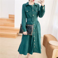 Dress Autumn 2020 Black, dark green S,M,L,XL longuette singleton  Long sleeves commute Polo collar High waist Solid color Single breasted shirt sleeve Type A Button, pocket