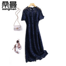 Dress Summer 2021 Green Navy Blue Pink S M L XL longuette singleton  Short sleeve commute Crew neck middle-waisted Solid color Socket A-line skirt routine 30-34 years old Type A Sanman Lace H9374 More than 95% Lace polyester fiber Polyester 100% Pure e-commerce (online only)