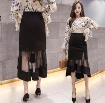 skirt Spring 2021 S,M,L,XL,2XL,3XL,4XL,5XL Black, sling Mid length dress Versatile High waist skirt Solid color Type A 25-29 years old 71% (inclusive) - 80% (inclusive) other polyester fiber Asymmetry, mesh, stitching