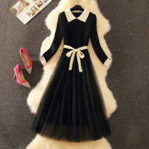Dress Autumn of 2019 Black, blue S,M,L,XL Mid length dress singleton  Long sleeves commute Doll Collar High waist Solid color Socket A-line skirt 18-24 years old Type A 30% and below Cellulose acetate