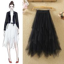 skirt Autumn 2020 Average size Black, white, light gray, dark gray, khaki, apricot, pink Mid length dress Versatile High waist Irregular Solid color Type A 9613# Lace Asymmetry, mesh, lace