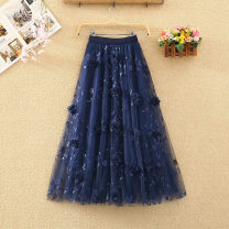 skirt Summer 2020 Average size Apricot, grey, black, pink, blue Mid length dress commute High waist A-line skirt Solid color Type A 8176# Embroidery, three-dimensional decoration, gauze net Korean version