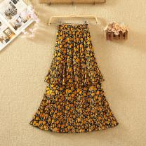 skirt Summer 2020 Average size Mid length dress commute High waist Cake skirt Broken flowers Type A Chiffon Pleated, stitched, printed Korean version
