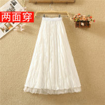 skirt Summer 2020 Average size White, black, apricot, light blue Mid length dress commute High waist Pleated skirt Solid color Type A 8038# Pleat, web Korean version