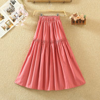 skirt Summer 2020 Average size White, black, apricot, purple, light green, pink Mid length dress commute High waist A-line skirt Solid color Type A 8133# Splicing Korean version