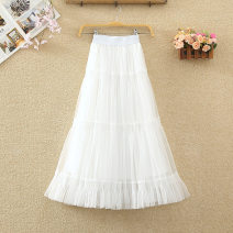 skirt Winter 2020 Average size White, black, khaki, apricot Mid length dress commute High waist Cake skirt Solid color Type A 8330# Ruffles, pleats, gauze, stitching Korean version