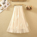 skirt Summer 2020 Average size White, black, gray, apricot, pink Mid length dress commute High waist Fluffy skirt Solid color Type A 8011# Embroidery, gauze Korean version