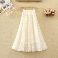 skirt Winter 2020 Average size White, apricot, black Mid length dress commute High waist A-line skirt Solid color Type A 8241# Lace Sequins, gauze, lace Korean version