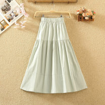skirt Summer 2020 Average size White, black, apricot, yellow, pink, watermelon red, bean green Mid length dress commute High waist A-line skirt Solid color Type A 8077# Line decoration, stitching Korean version