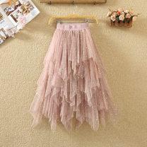 skirt Spring 2020 Average size Mid length dress commute High waist Fluffy skirt Solid color Type A Korean version