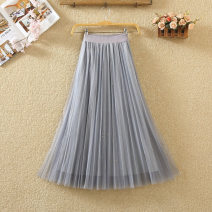 skirt Spring 2020 Average size Black, gray, apricot, pink Mid length dress commute High waist Pleated skirt Solid color Type A 9582# Bright silk, fold, nail bead, gauze net Korean version
