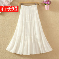 skirt Winter 2020 White, black, blue, pink Mid length dress Versatile High waist A-line skirt Solid color Type A 9090# 71% (inclusive) - 80% (inclusive) other cotton