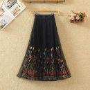 skirt Spring 2020 One size fits all Mid length dress commute High waist Pleated skirt Broken flowers Type A 9239# Korean version