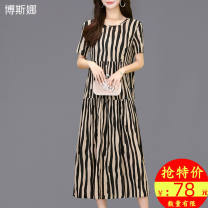 Middle aged and old women's wear Summer 2020 Color 1 color 2 color 3 color 4 color 5 Color 6 color 7 color 8 color 9 color 10 color 11 color 12 color 13 color 14 color 15 color 16 color 17 color commute Dress easy singleton  stripe 40-49 years old Socket moderate Crew neck Medium length pocket other