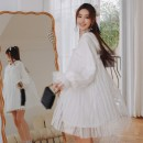 Dress Spring 2021 white XS,S,M,L Short skirt singleton  Long sleeves Sweet Hood High waist Solid color Socket Princess Dress puff sleeve Others Type H Lace More than 95% cotton