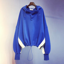 Sweater / sweater Spring 2021 Blue, black Average size Long sleeves have cash less than that is registered in the accounts Socket singleton  routine Hood easy commute Bat sleeve stripe 18-24 years old 96% and above Korean version other Splicing