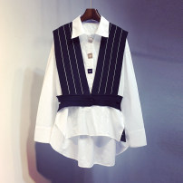 shirt Blue, yellow S,M,L Spring 2021 other 96% and above Long sleeves commute Regular square neck Single row multi button routine stripe 18-24 years old Straight cylinder Korean version Splicing