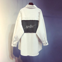 shirt White, pink, grey Average size Autumn 2020 other 96% and above Long sleeves commute Medium length square neck Single row multi button routine other 18-24 years old Straight cylinder Korean version Tassels, stitching