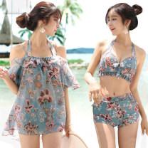 Bikini Baiya White, cyan, navy M [75-95 Jin], l [95-105 Jin], XL [105-130 Jin] Skirt bikini Steel strap breast pad polyester fiber