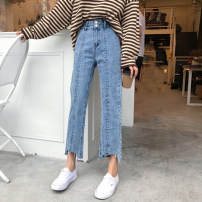 Jeans Spring of 2018 blue Pre sale s M L Ninth pants High waist Straight pants routine 18-24 years old Wear out and wash others other Dark color