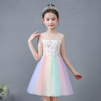 Dress female Yisha Katie 110cm,120cm,130cm,140cm,150cm,160cm Acetate fiber (acetate fiber) 100% summer princess Skirt / vest Solid color other Lotus leaf edge Class B Chinese Mainland Guangdong Province Shantou City
