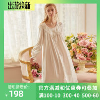 Nightdress Chelnlseey / Chen Xi White, pink 155(S),160(M),165(L) Sweet Long sleeves pajamas longuette autumn Solid color youth Crew neck cotton Mosaic decoration 81% (inclusive) - 95% (inclusive) Knitted cotton fabric 20675C 200g and below
