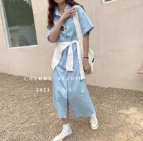 Dress Summer 2021 Light blue, dark blue Average size Mid length dress singleton  Short sleeve commute Polo collar High waist Decor A-line skirt routine Others 25-29 years old Type A Korean version More than 95%