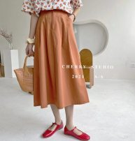 skirt Spring 2021 Average size Orange, light blue, white, apricot, black Mid length dress Sweet High waist A-line skirt Solid color Type A 18-24 years old More than 95% cotton Lace, fold college