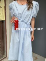 Dress Summer 2021 White, light blue, pink, yellow Average size Mid length dress singleton  Short sleeve Sweet Crew neck Loose waist Solid color other A-line skirt puff sleeve Others 25-29 years old Type A More than 95% cotton college