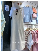 Dress Spring 2021 Apricot, dark grey Average size longuette singleton  Sweet Loose waist Solid color Socket A-line skirt straps 18-24 years old Type A pocket 3-5-7 More than 95% cotton college