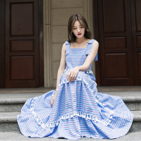 Dress Summer 2021 S,M,L longuette singleton  Sleeveless commute One word collar High waist stripe zipper Cake skirt routine camisole 25-29 years old Type A Other / other Korean version Tassels, stitching 91% (inclusive) - 95% (inclusive) other cotton