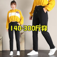 Women's large Spring 2021 1825 black 4XL [recommended 140-170 kg], 5XL [recommended 170-200 kg], 6xl [recommended 190-220 kg], 7XL [recommended 220-250 kg], 8xl [recommended 250-280 kg], 9xl [recommended 270-300 kg] trousers other Solid color cotton routine Xiusika 18-24 years old 96% and above