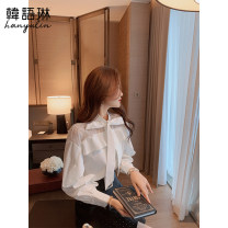 shirt white shirt S M L Spring 2021 other 96% and above Long sleeves commute Regular other Single row multi button routine Solid color 25-29 years old Straight cylinder Korean Lin space Korean version 02TS21113 Cut out lace button with ruffle Other 100% Pure e-commerce (online only)