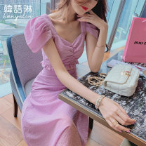 Fashion suit Summer 2021 S M L Purple suit purple top purple skirt 18-25 years old Korean Lin space 02TL20958 Polyester fiber 72.5% polyamide fiber (nylon) 24.9% polyurethane elastic fiber (spandex) 2.6% Pure e-commerce (online only)