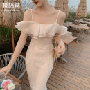 Dress Summer 2021 Apricot S M L Mid length dress singleton  Short sleeve commute One word collar High waist other zipper Big swing Sleeve camisole 25-29 years old Type X Korean Lin space Korean version Bright silk chain splicing mesh zipper 12TL31393 More than 95% other other Other 100%