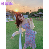 Dress Summer 2021 S M L Mid length dress singleton  Sleeveless commute V-neck High waist Decor zipper Irregular skirt other camisole 25-29 years old Type A Korean Lin space Korean version More than 95% other Other 100% Pure e-commerce (online only)