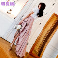 skirt Summer of 2018 SML Lotus root Pink Mid length dress Versatile High waist Pleated skirt Solid color Type A 25-29 years old 81TX11816 other