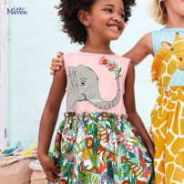 Dress S0930 Pink Elephant female Little Maven 2T(90),3T(100),4T(110),5T(120),6T(130),7T(140) Other 100% summer Europe and America Short sleeve Cartoon animation knitting A-line skirt QW175 Class A 12 months, 2 years old, 3 years old, 4 years old, 5 years old, 6 years old, 7 years old, 8 years old