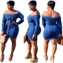 Dress Summer of 2018 blue Middle-skirt singleton  middle-waisted Solid color Socket One pace skirt Denim